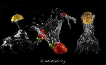 Как фотографировать фрукты падающие в воду?